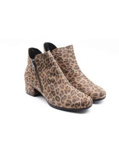 Botín doble cremallera leopardo
