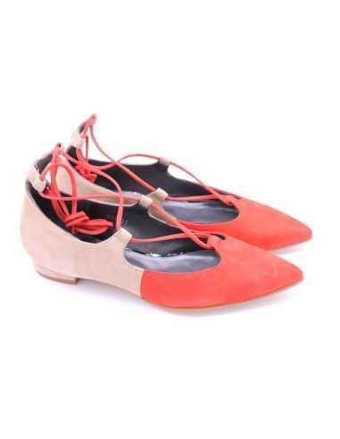 Zapato bicolor cordones coral