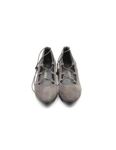zapato cuña ante cuerdas gris