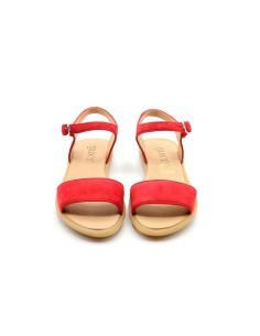 Sandalia niña básica con hebilla ante rojo